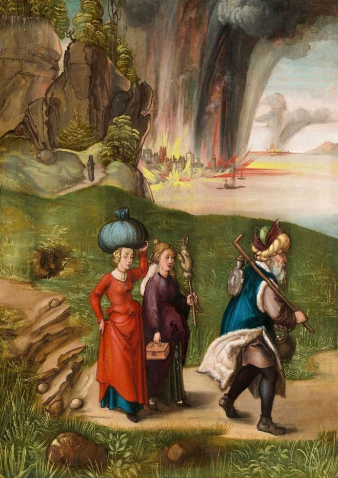 Durer, Albrecht: Lot Fleeing With His Daughters from Sodom. Fine Art Print.  (001913)